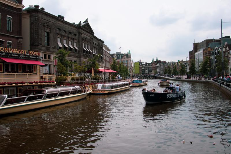 Amsterdam/Niederlande/ July 18, 2019: Beautiful view of a canal in Amsterdam. Amsterdam/Netherland/ July 18, 2019: Beautiful view of a canal in Amsterdam stock image