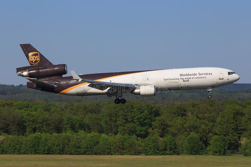 Mcdonald MD11 from UPS. Amsterdam/Netherland march 12, 2016: MCdonald MD11 from UPS landing at Amsterdam Airport royalty free stock photography