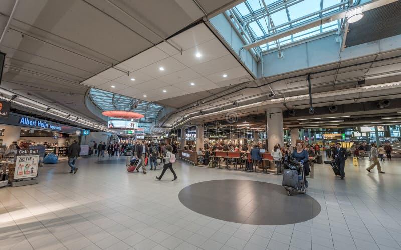 AMSTERDAM, NETHERLAND - OCTOBER 27, 2017: Amsterdam International Airport Schiphol With People. Restaurant. stock photo
