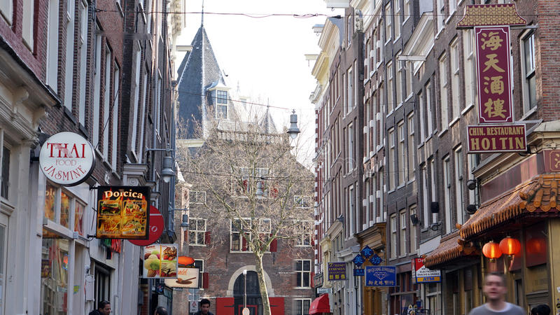 Amsterdam, Netherlands - 3 April 2017: Asian food street and hos stock image