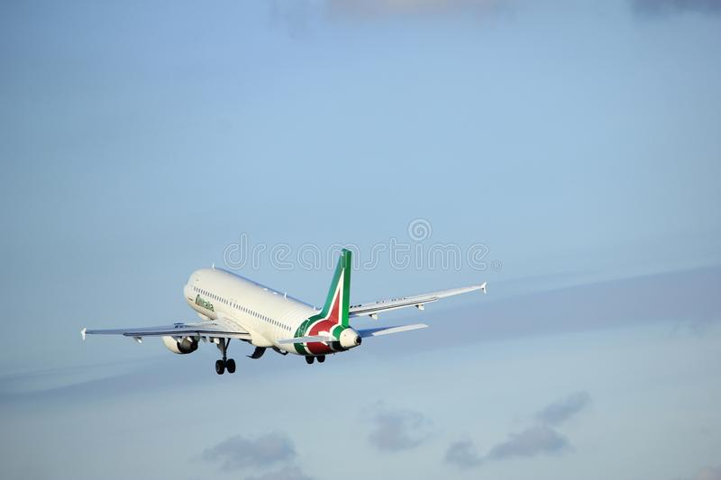 Amsterdam the Netherlands - April 7th, 2017: EI-DSL Alitalia Airbus A320. Takeoff from Polderbaan runway, Amsterdam Airport Schiphol stock image