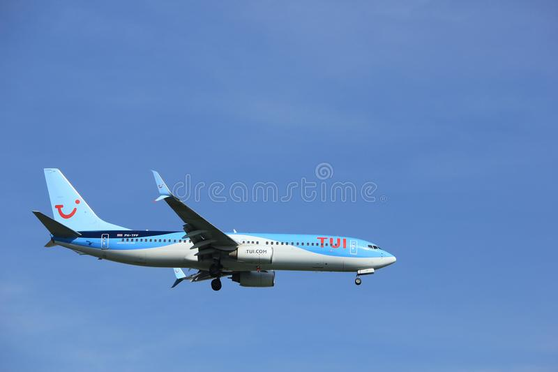 Amsterdam the Netherlands - April, 19th 2018: PH-TFF TUI Airlines Netherlands Boeing 737-800. On final approach to Schiphol Polderbaan runway, Amsterdam Airport stock image