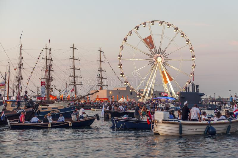 Amsterdam, Netherlands - August 22, 2015: Many ships in Sail Amsterdam are the largest free public event in Amsterdam. Plying the city every five years, the stock photo