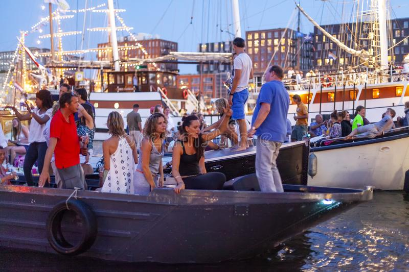 Amsterdam, Netherlands - August 22, 2015: Many ships in Sail Amsterdam are the largest free public event in Amsterdam, plying the. City every five years, the stock images