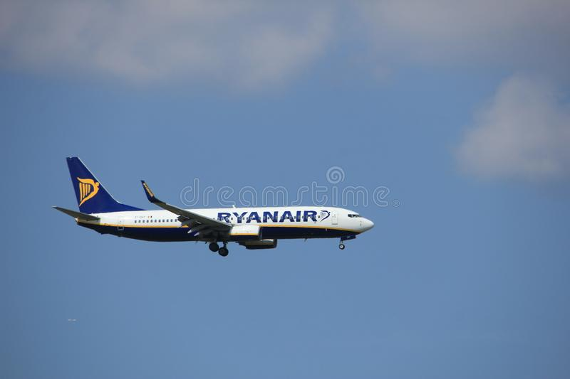 Amsterdam the Netherlands - August 27th 2017: EI-DHY Ryanair Boeing 737-800. Approaching Schiphol Amsterdam Airport Kaagbaan runway royalty free stock photo