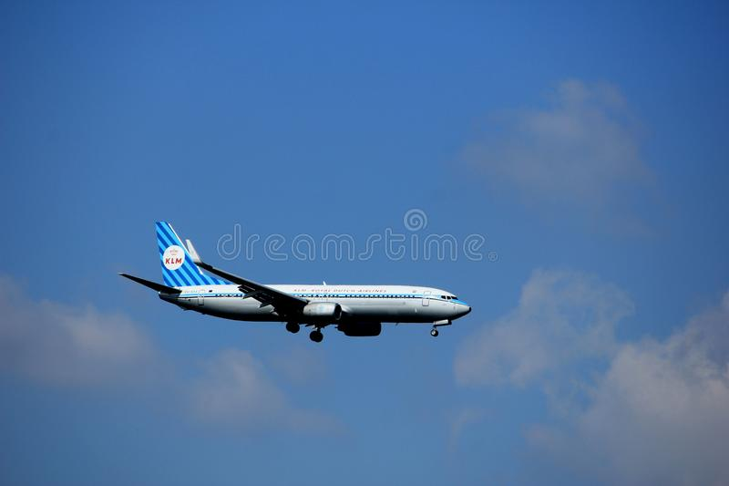 Amsterdam the Netherlands - August 27th 2017: PH-BXA KLM Royal Dutch Airlines Boeing 737-800. Approaching Schiphol Amsterdam Airport, ainted in `Retro 90 Years royalty free stock images