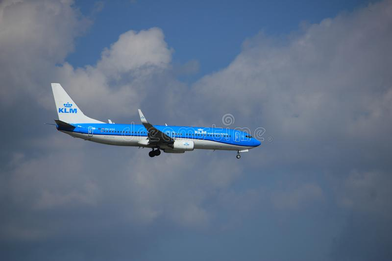 Amsterdam the Netherlands - August 27th 2017: PH-HSE KLM Boeing 737-800. Amsterdam the Netherlands - August 27th 2017: PH-HSE KLM Royal Dutch Airlines Boeing 737 royalty free stock photo