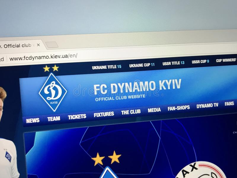Homepage of FC Dynamo Kyiv royalty free stock photo
