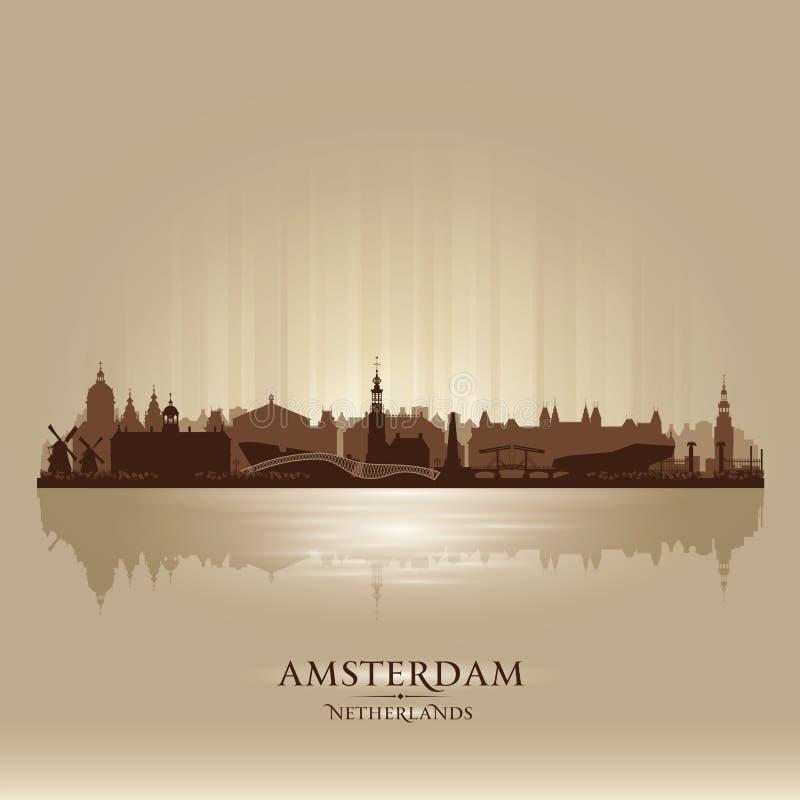 Amsterdam Netherlands city skyline vector silhouette stock illustration