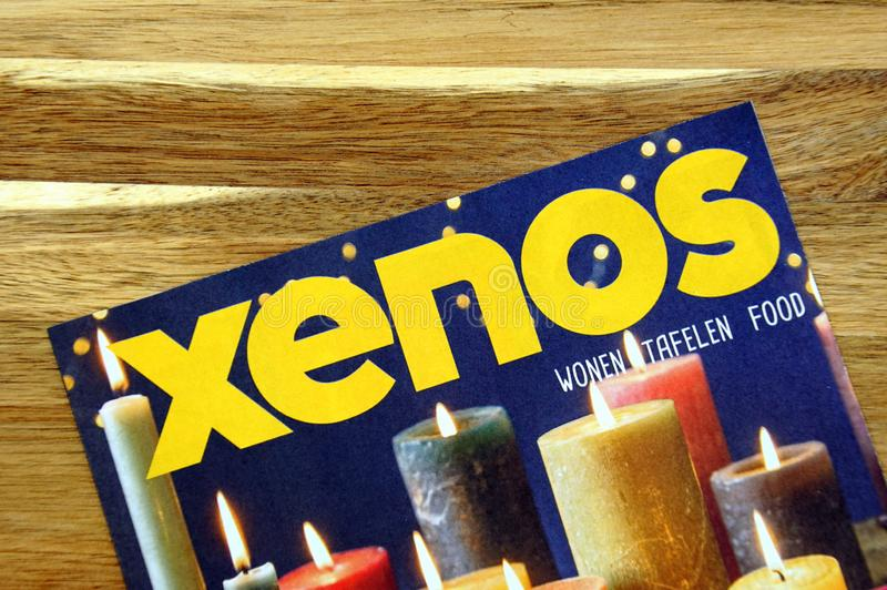 Goods store sale flyer of Dutch retail chain Xenos. Amsterdam, the Netherlands - December 16, 2018: Goods store sale flyer or advertising brochure, of Dutch stock photo