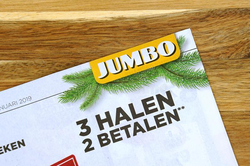 Grocery shop sale flyer of Dutch supermarket Jumbo. Amsterdam, the Netherlands - December 16, 2018: Grocery shop sale flyer or advertising brochure, of Dutch royalty free stock photos