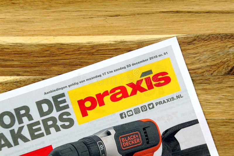 Hardware store sale flyer of Dutch Hardware store chain Praxis. Amsterdam, the Netherlands - December 16, 2018: Hardware store sale flyer or advertising brochure royalty free stock photo