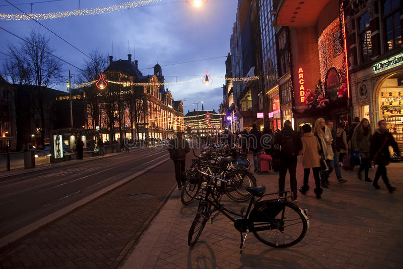 AMSTERDAM, NETHERLANDS - DECEMBER 5, 2015: The main street of th stock photo
