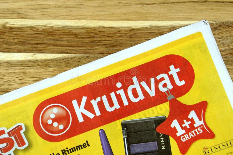 Pharmacy and drugstore sale flyer of Dutch drugstore chain Kruidvat. Amsterdam, the Netherlands - December 16, 2018: Pharmacy and drugstore sale flyer or stock images