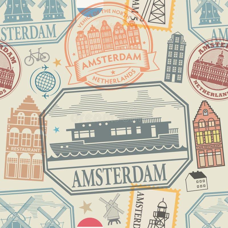 Amsterdam, Netherlands, Europe theme seamless pattern. Travel stamps or symbols set Amsterdam, Netherlands, Europe theme seamless pattern, vector illustration vector illustration