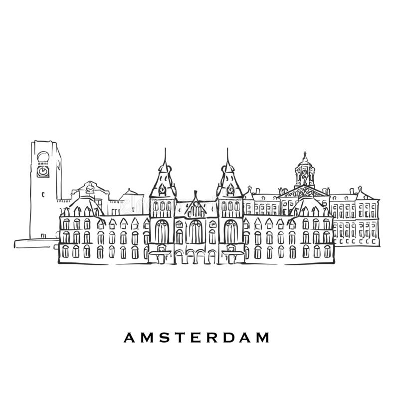 Amsterdam Netherlands famous architecture. Outlined vector sketch separated on white background. Architecture drawings of all European capitals stock illustration