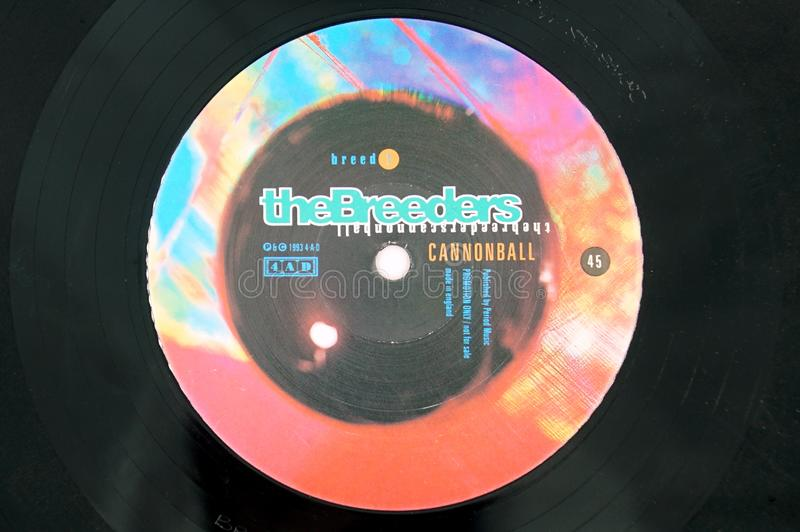 The Breeders single record Cannonball. Amsterdam, the Netherlands - Januari 30, 2019: The Breeders single vinyl record Cannonball royalty free stock photos