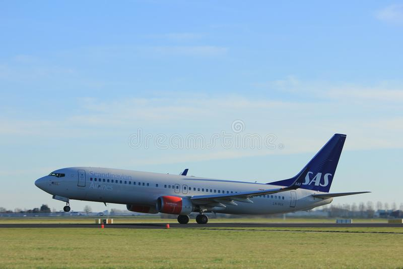 Amsterdam the Netherlands - January 7th 2018: LN-RGA SAS Scandinavian Airlines Boeing 737-800 stock photo