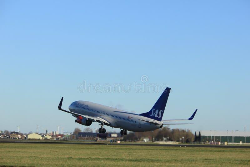 Amsterdam the Netherlands - January 7th 2018: LN-RGA SAS Scandinavian Airlines Boeing 737-800. Takeoff from Polderbaan runway royalty free stock photo