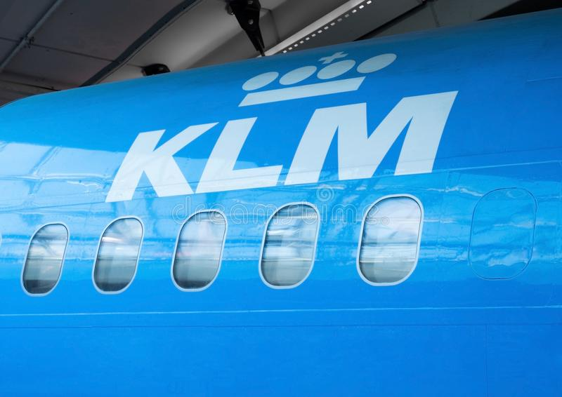 AMSTERDAM, NETHERLANDS - JULY 18, 2018: Close up of KLM Royal Dutch Airlines plane stock photo