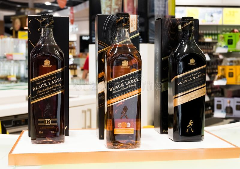 AMSTERDAM, NETHERLANDS - JULY 18, 2018:Johnnie Walker whiskey in Duty free shop at Airport. stock image