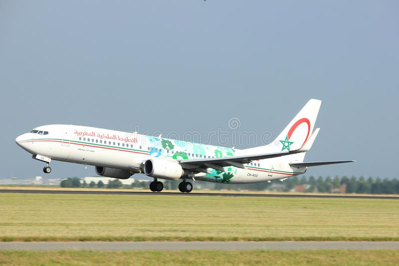 Amsterdam the Netherlands - July 6th, 2017: CN-RGG Royal Air Maroc Boeing 737-800. Takeoff from Polderbaan runway, Amsterdam Schiphol Airport stock photography