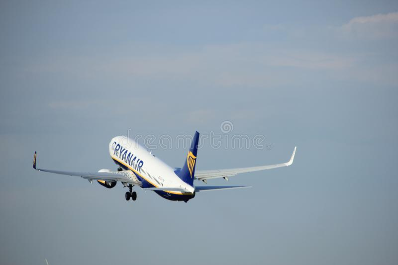 Amsterdam the Netherlands - July 6th, 2017: EI-FTW Ryanair Boeing 737-800. Takeoff from Polderbaan runway, Amsterdam Schiphol Airport royalty free stock photography
