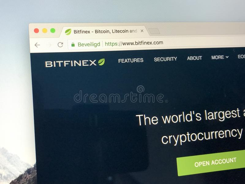 Homepage of Bitfinex royalty free stock images
