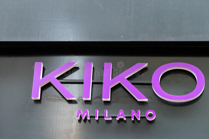 AMSTERDAM, NETHERLANDS- 11 June 2018 - Brand logo of Kiko Milano in front of the shop in the city center, Amsterdam stock image