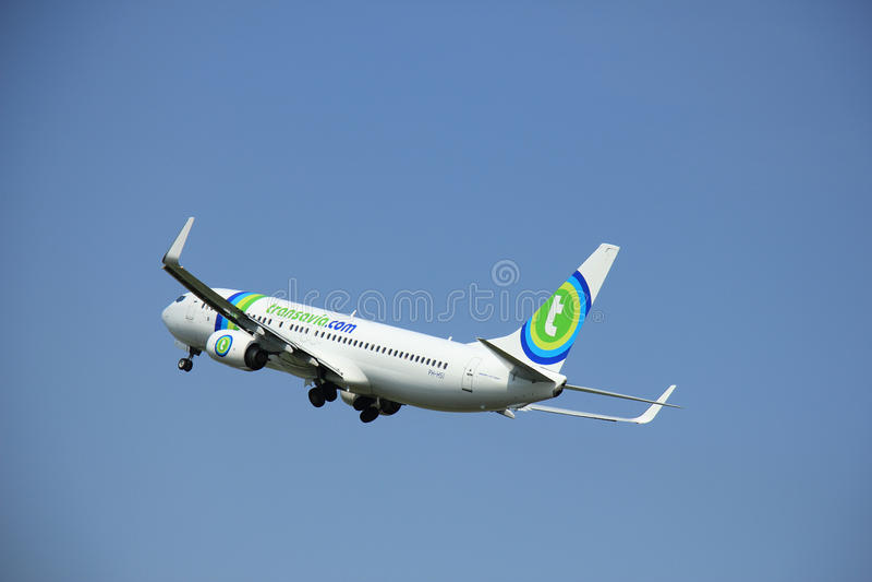Amsterdam, The Netherlands - June 12 2015: PH-HSI Transavia Boeing 737-800 stock images