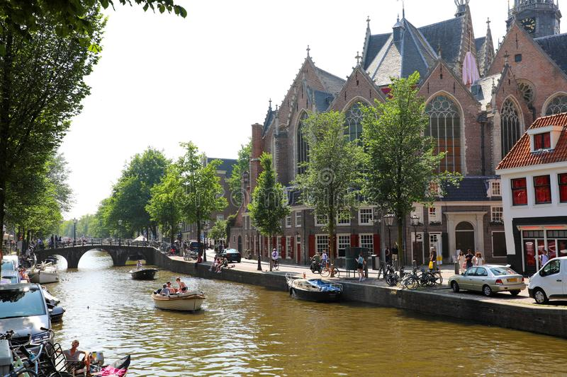 AMSTERDAM, NETHERLANDS - JUNE 6, 2018: side view of the oldest b stock image