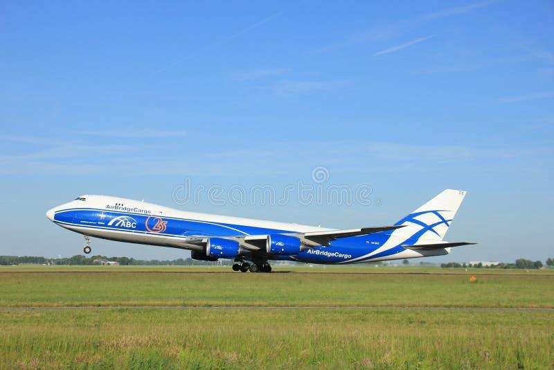 Amsterdam, the Netherlands - June 9th 2016: VQ-BFE AirBridgeCargo Boeing 747. 83QF , take off from Polderbaan runway Schiphol, destination Milan, Italy stock photos