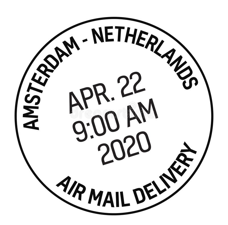 AMSTERDAM, NETHERLANDS mail delivery stamp. Isolated on white background. Postage signs series stock illustration