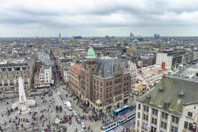 AMSTERDAM, THE NETHERLANDS - MARCH 2015: Aerial view of city buildings. The city hosts 15 million tourists annually stock photos