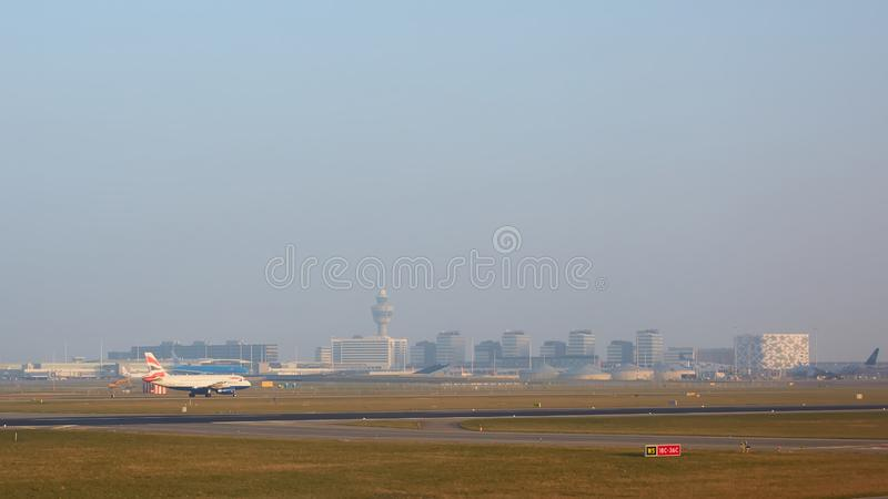 Amsterdam, Netherlands - March 11, 2016: Amsterdam Airport Schiphol in Netherlands. AMS is the Netherlands` main. International airport, located southwest of royalty free stock photos
