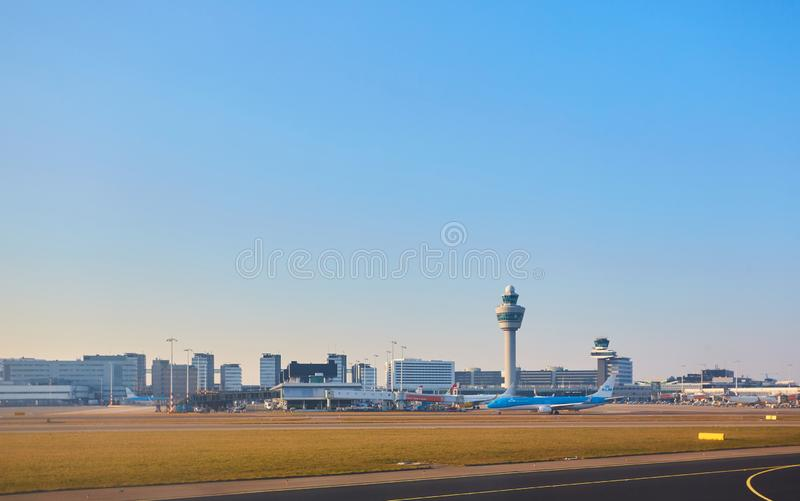 Amsterdam, Netherlands - March 11, 2016: Amsterdam Airport Schiphol in Netherlands. AMS is the Netherlands` main. International airport, located southwest of stock photo