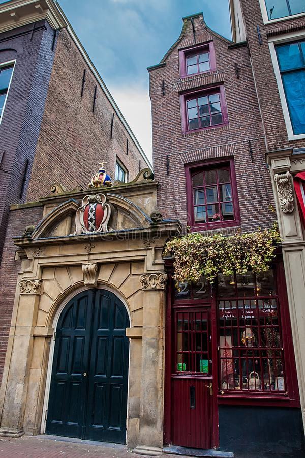 Facade of the smallest house in Amsterdam royalty free stock photography