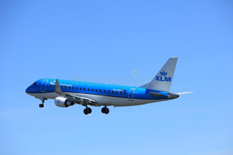 Amsterdam the Netherlands - March 25th, 2017: PH-EXB KLM Cityhopper Embraer ERJ-190 royalty free stock images