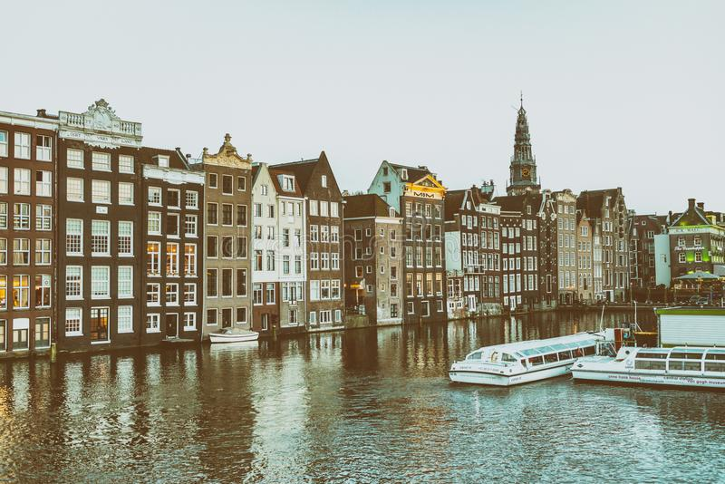 AMSTERDAM, THE NETHERLANDS - MARCH 2015: View of city buildings royalty free stock photos