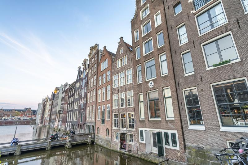 AMSTERDAM, THE NETHERLANDS - MARCH 2015: View of city buildings royalty free stock photography