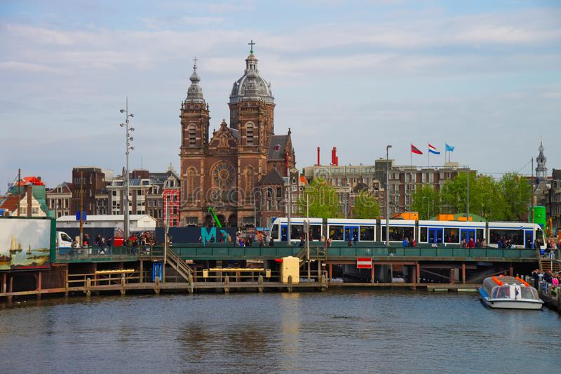 St Nicholas Church in Open Havenfront Amsterdam stock photography