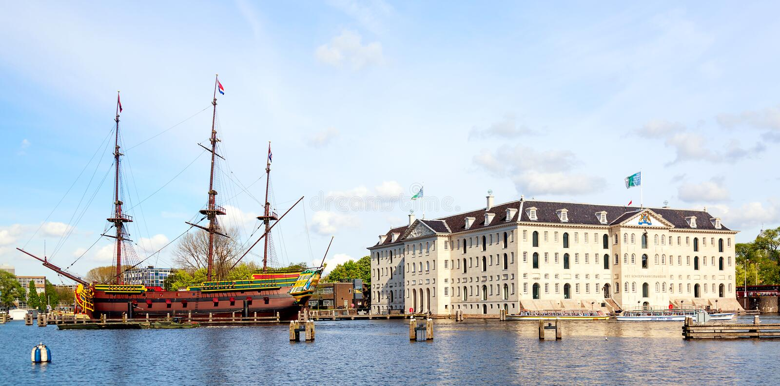 Amsterdam, The Netherlands - May, 2018: National Maritime Museum Scheepvaartmuseum in Amsterdam with old replica ship stock image