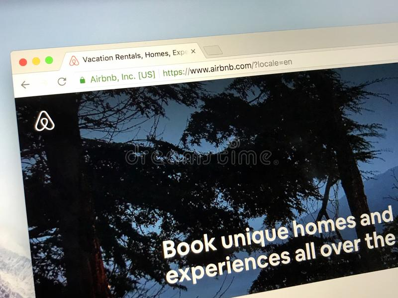 Website homepage of Airbnb royalty free stock images