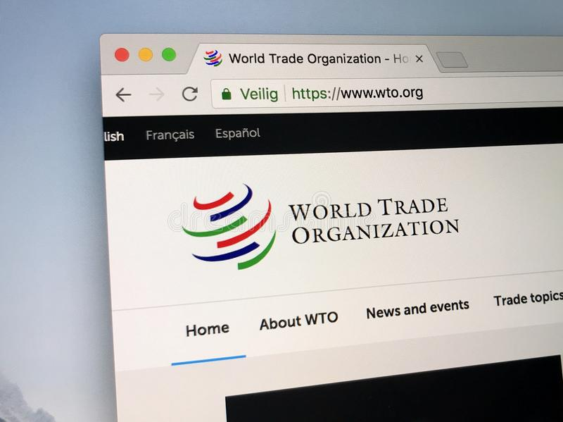 Website of The World Trade Organization, WTO. royalty free stock photography