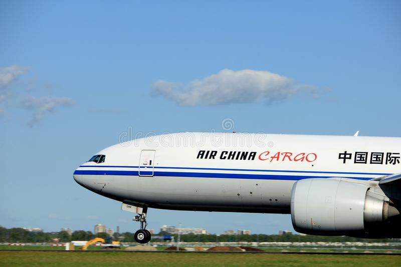Amsterdam the Netherlands - May 3rd 2018: B-2098 Air China Cargo Boeing 777F. Takeoff from Polderbaan runway, Amsterdam Airport Schiphol royalty free stock photography