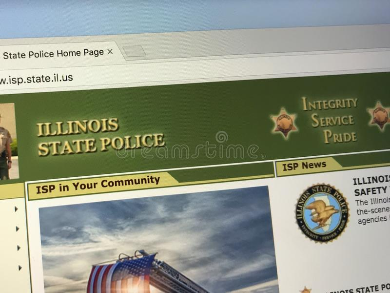 Homepage of The Illinois State Police ISP. Amsterdam, Netherlands - May 28, 2018: Website of The Illinois State Police ISP is the state police force of Illinois stock photos