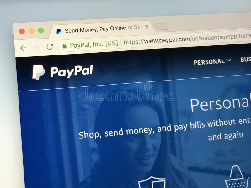 Homepage of PayPal,. Amsterdam, Netherlands - May 19, 2018: Website of PayPal, an American company operating a worldwide online payments system that supports stock photography
