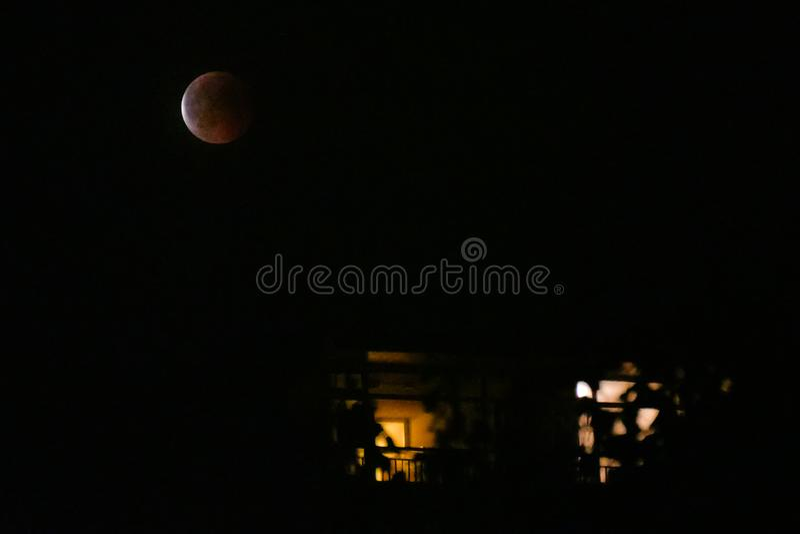 Amsterdam, Netherlands - 07-27-2018 Moon eclips night and illum stock photography