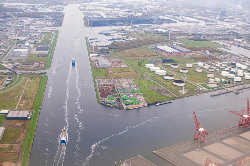 Amsterdam, Netherlands - November 5, 2010. Aerial view on industrial zone with canals. River stock photo