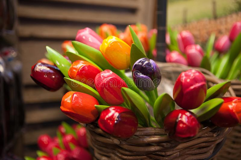 Souvenir wooden tulips in Amsterdam stock images